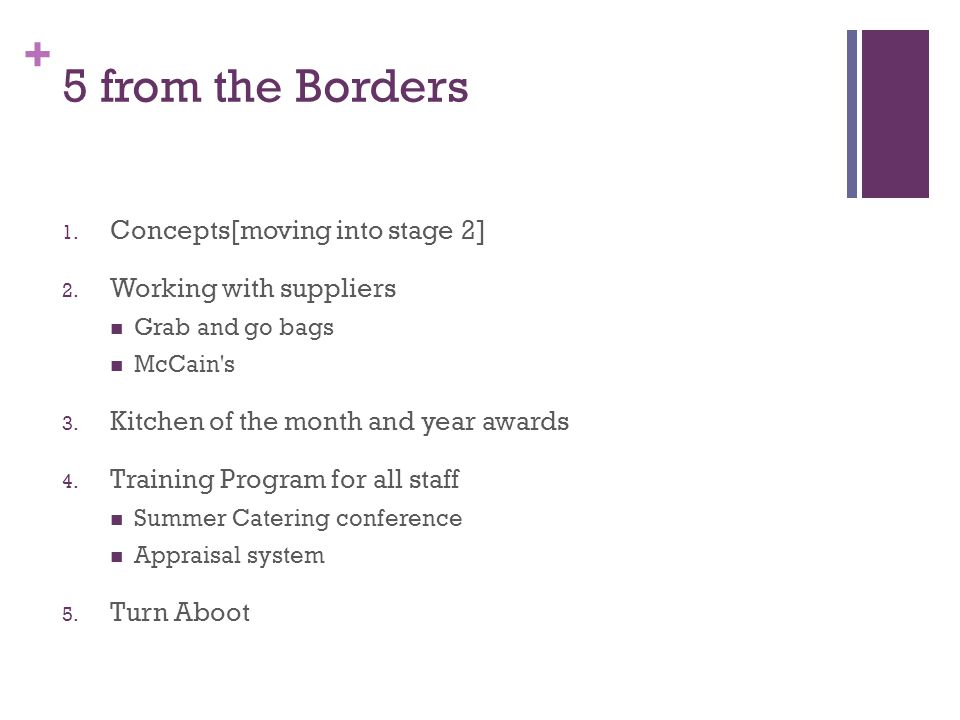 5 from the Borders Concepts[moving into stage 2]